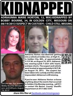 KIDNAPPED FROM GOLDEN CITY, MISSOURI: ADRIAUNNA MARIE HORTON (12), KIDNAPPED BY BOBBY BOURNE.
