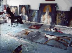 British artist Annie Morris in her studio ( I wish I had a studio like this) My house is smaller than this studio