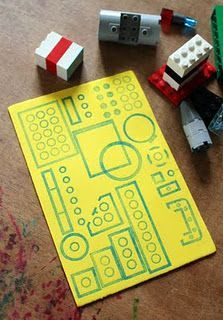 lego stamp art- just use legos and stamp pads to create buildings, robots, spaceships, anything! Use for Kinder/1s shape and patterns or use for bigger kids for multiplicative arrays