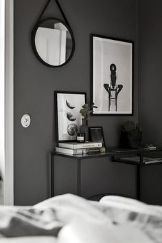 Vittsjö / dunkelgraue Wand // Gravity Home Decoration Inspiration, Room Inspiration, Interior Inspiration, Decor Ideas, Minimalist Home Decor, Minimalist Bedroom, Modern Minimalist, Ikea Vittsjo, Gravity Home