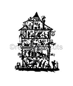 papercut silhouette HOUSE german black and white by reevpapercuts, €199.00