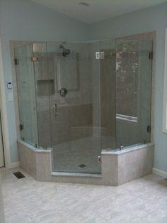 Bathroom  Elegant Frameless Shower Door Design Ideas Plus Best Flooring And Pale Blue Wall Paint Frameless Shower Doors Complete the Captivating Master Bathroom Interior Design