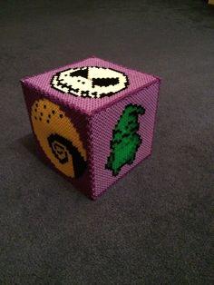 Hama bead nightmare before Christmas money box Perler Patterns, Bead Patterns, Cross Stitch Patterns, Hama Beads Halloween, Hamma Beads Ideas, Beaded Boxes, Melting Beads, Perler Bead Art, Plastic Canvas Crafts