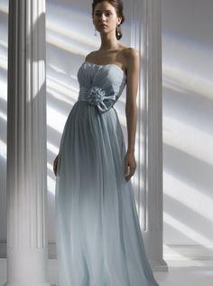c7b91b7c8dfa 2015 A-line Strapless Sky Blue Chiffon Floor Length Bridesmaid Dress Liz  Fields 664 Strapless