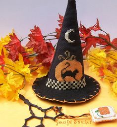 Cross Stitched Halloween Witch Hat Collectible Fall Autumn Witch OFG TEAM ab4b