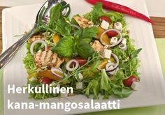 Herkullinen kana-mangosalaatti, Resepti: Valio #kauppahalli24 #reseptit #kana #mango #salaatti #verkkoruokakuppa Mango, Beef, Chicken, Food, Manga, Meat, Eten, Ox, Ground Beef