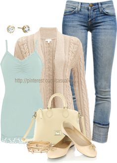 """""""Laced Light Blue Cami & Capri Jeans"""" by casuality on Polyvore"""