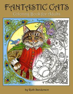 FANTASTIC CATS Coloring Book for Adults  24 images for PDF