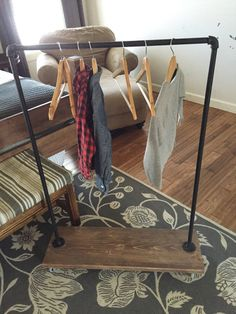 Industrial child's clothing rack, clothes rack, rustic kids clothes rack