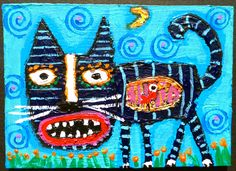 """""""A Bird In A Gilded Rib-Cage"""" an original acrylic ACEO mini painting by me. #cat #bird #birdcage #outsiderart #aceo #miniart #kittycat"""