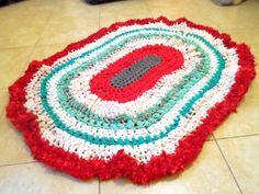 Alfombra con totora crochet