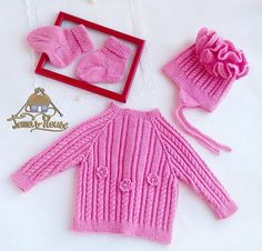 Beautiful pink set for babygirls: a cardigan, a hat and socks.  #babygirl  #handmade  #cableknit #babyset #cardiganforbaby  #babysweater #babyhat #hat #socksfor baby