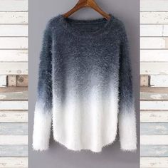 Blue ombre fuzzy sweater Limited supply of these amazing sweaters!  Beautiful rich ocean blue ombre into a pure white  One size fits most. I am wearing a large and it fits me fine.  Scooped bottom hem and a crew neck design.     No trades   15% bundle discount   Lowball offers are declined   I ship same or next day  Follow my Instagram- Seahighmarket Sweaters Crew & Scoop Necks