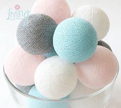 Grey Pastel Dreams 20 Handmade Cotton Thread Balls – Party, Wedding, Holiday, Festival, Decoration, Display Window on Etsy, ฿199.67