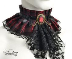 OFF SALE, Red fabric Choker with red rose cameo and jabot - Fantasy flower, Romantic goth jewelry, Red Victorian collar with black jabot Steampunk Fashion, Victorian Fashion, Victorian Collar, Rose Choker, Romantic Goth, Goth Jewelry, Lolita Dress, Lolita Fashion, Gothic Lolita