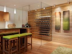 """Modern wine closet at the """"Otter Cove"""" residence in Carmel, CA designed by Sagan Piechota Architecture"""