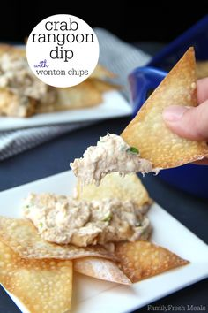 Crab Rangoon Dip with Wonton Chips - Family Fresh Meals No Chinese take-out order would be complete without creamy, crunchy crab rangoons. Now you can make your own Crab Rangoon Dip with Wonton Chips! Yummy Appetizers, Appetizers For Party, Appetizer Recipes, Snack Recipes, Cooking Recipes, Appetizer Dips, Dip Recipes, Cooking Ideas, Crab Rangoon Dip