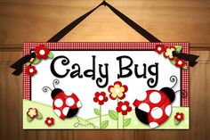 Little Ladybug Baby Girls Nursery Bedroom DOOR SIGN Wall Art