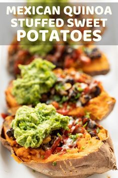 This recipe for Mexican Quinoa Stuffed Sweet Potatoes is an amazing way to pack in a ton of plant-based protein in a tasty, gluten-free and simple meal! Vegetarian Dinners, Vegetarian Recipes Easy, Easy Chicken Recipes, Clean Eating Recipes, Healthy Recipes, Free Recipes, Healthy Food, Winter Dinner Recipes, Best Dinner Recipes
