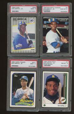 662e4c162e LOT (4) 1989 Different Ken Griffey Jr. Mariners RC Rookie PSA Graded  #BaseballCards