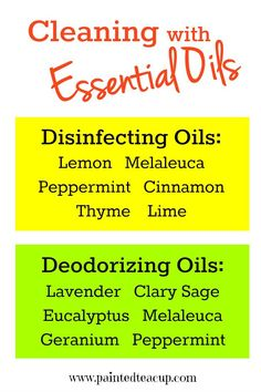 Essential Oils for Cleaning: deodorizing & disinfecting. PLUS: DIY Essential Oil cleaning recipes. www.paintedteacup.com