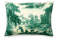 One Kings Lane - Autumn en Provence - Scenes 12x16 Cotton Pillow, Green