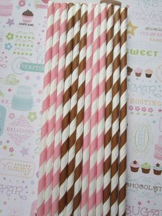 24 Pink & Brown Striped Paper Straws by DKDeleKtables on Etsy, $3.90