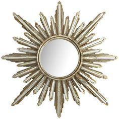 "Mirrored Burst Mirror - A gorgeous statement mirror that isn't going to eat up a lot of precious wall space. 31.75"" dia. from Pier 1"