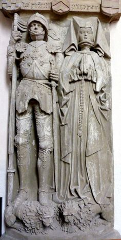 Effigy of Philipp I von Rieneck (d. the woman is probably his second wife Anna von Wertheim (d. Medieval World, Medieval Armor, Cemetery Statues, Steinmetz, Early Modern Period, Late Middle Ages, Christian Love, Effigy, Knights Templar