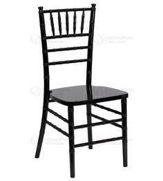 Offex OF-SZ-BLACK-GG Flash Elegance Supreme Black Wood Chiavari Chair