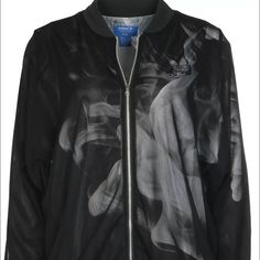 """Adidas Rita Ora bomber jacket smoke pack Medium Adidas X Rita Ora black bomber jacket. This was part of the """"Smoke Pack"""" size Medium. Super cool micro mesh overlay with smoke print and bomber silhouette. Never worn, New without tags. Super unique piece! Adidas Jackets & Coats Utility Jackets"""