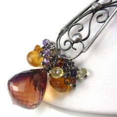Sweet Plum Necklace  Sterling Filigree  and Ametrine by glowfly, $165.00