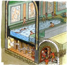 Cut away of Roman baths, highlighting the Hypocaust system. The floors were raised with stacks of tiles in order to allow heat from the furnace to warm the space above without smoke or soot.