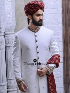 Best off-white marriage sherwani suit design for men by Omar Farooq. Discover best Asian Indian Pakistani muslim sherwani with price and discount Sherwani For Men Wedding, Wedding Dresses Men Indian, Wedding Outfits For Groom, Groom Wedding Dress, Wedding Dress Prices, Indian Wedding Wear, Pakistani Bridal Dresses, Mens Sherwani, Moda Masculina