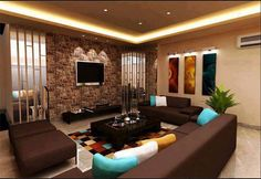 Brown & white living room