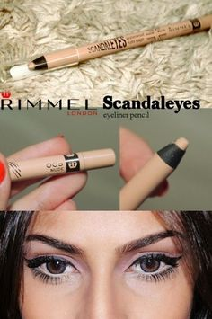Rimmel Scandaleyes Eyeliner in Nude. Most of us have heard of using white eyeliner on our waterline to make eyes appear bigger, brighter, and wide awake; but white can look way too harsh. Nude is the best to give you that same effect without being in-your-face noticeable.