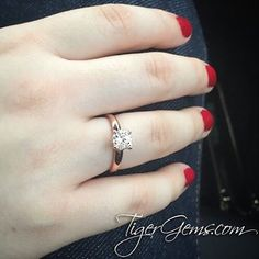 """tigergemstones""""My girlfriend loved her promise ring. It's beautiful!"""" ✨ Thank you to my client @pbourree for his review and photo of his girlfriend's 1 ct, 4 prong, low profile solitaire in rose.  Follow @tigergemstones  Shop now at ✨ TigerGems.com tdncreationssupper! lana.nanana@lulumelon_ promise ring :P lol thearchshowgreat pictures  tigergemstones#tigergemstones"""
