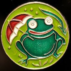 FROG WITH AN UMBRELLA, SOVIET RUSSIAN USSR PIN BADGE