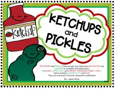 KETCHUP and PICKLE time will get your little ones MOTIVATED and EXCITED to complete unfinished work! It is EASY, EFFECTIVE, and a Great ORGANIZATIONAL TOOL! Not to mention, SUPER CUTE and FUN! They are everyone's favorite classroom condiments!