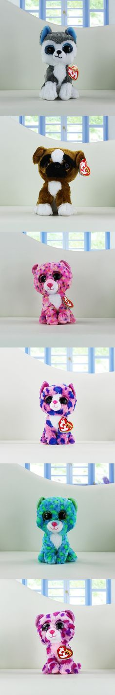 Ty Beanie Boos Plush Toys Beanie Babies Big Eyes Slush Husky Dog Unicorn Soft Stuffed Animal Dolls Cute Kawaii Kids Toys 15-18cm