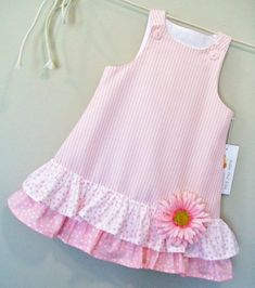 Items similar to Cotton Candies Stripe Childrens Pink A-Line Girls Dress/Size 18 months on Etsy