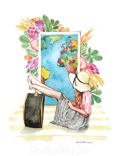 Ragazza tropicale viaggiatore acquerello - Fashion Illustration - pittura stampa