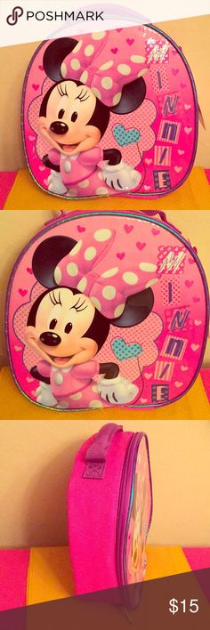 🆕 ONLY 1! Disney Junior Minnie Mouse Lunch Box Super Cute! Roomy! Authentic Disney Junior Minnie Mouse Lunch Box. Pink & Purple with Multi-Colored Minnie Mouse Front Graphics. Front is Shiny & Metallic. The Rest is Cloth Fabric. Bright Pink Back. Purple Handle. Top Zipper. Insulated Interior. Brand New. Excellent Condition. No Trades. See Other Cool Disney Listings in My Closet. 👌🏽 Disney Accessories Bags