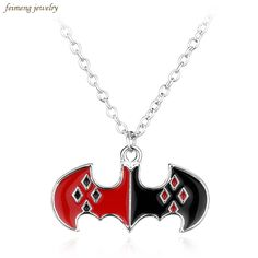 Free Shipping The Batman Harley Quinn Logo Necklace Fashion Black and Red Enamel Pendant Necklace Steampunk Fine Movie Jewelry //Price: $US $1.41 & FREE Shipping //     #hashtag4