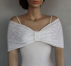 This weddings stole shrug, bridal shoulder wrap is made in with double layers, white elastic lace fabric.  Modern, romantic and comfortable, it