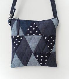 Blue Handbag, Shoulder Bag, Patchwork, Quilted, Recycled Denim £20.00