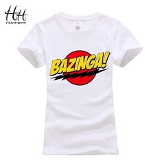 HanHent Bazinga Funny Women's T-Shirts Cotton Ladies School Style The Big Bang Theory T Shirt Casual Cropped Tee Shirt Woman