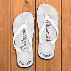 Personalized Flip Flops by Paper so Pretty, Fun for the entire Bridal Party,White Polka Dot Bridesmaid (Item 125FF-2)