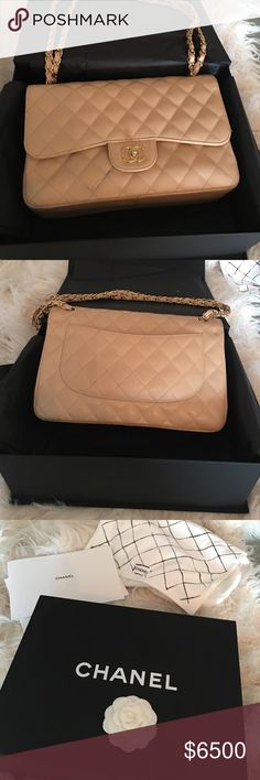 100 percent authentic! Chanel flap bag Authentic Chanel Classic Bag in beautiful beige. It's the large one. Paid $6000. I never use it anymore. Price is firm. Collectors item. Comes with all original packaging and copy of sales receipt. I purchased it from Rodeo Drive. CHANEL Bags Shoulder Bags