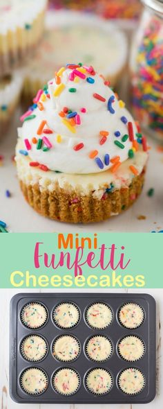 These are the best mini funfetti cheesecakes because they are loaded with sprinkles! Sprinkles in the graham cracker crust, in the cheesecake, and on top! #funfetticheesecake #minicheesecakes